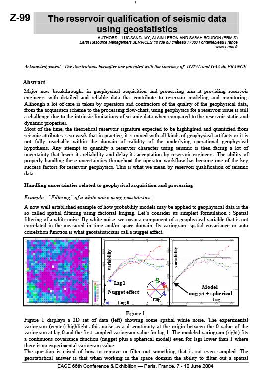 EAGE 2004: The Reservoir Qualification of Seismic Data Using Geostatistics