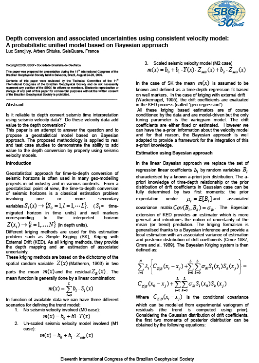SBGF 2009: Depth Conversion and Associated Uncertainties Using Consistent Velocity Model