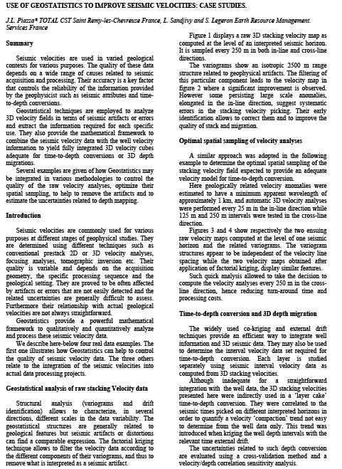 SEG 1997: Use of Geostatistics to Improve Seismic Velocities Case Studies