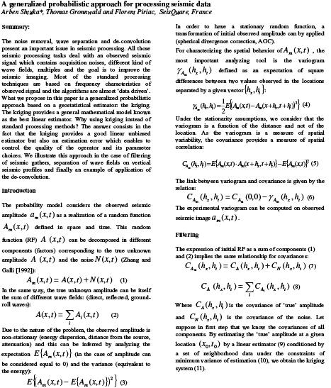 SEG Houston 2009: A Generalized Probabilistic Approach for Processing Seismic Data
